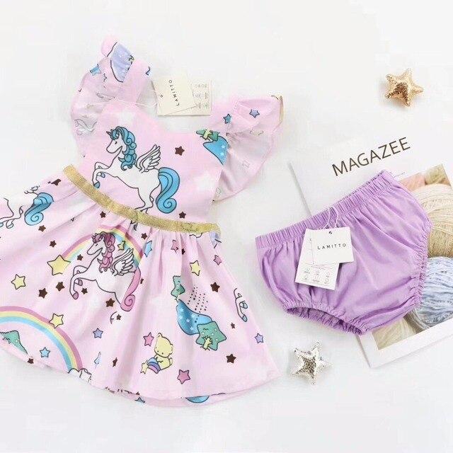 2018 verano niños unicornio patrón vestido + corto 2 unids ropa conjuntos s  estidos bobo choses 8bcb15c2bcf