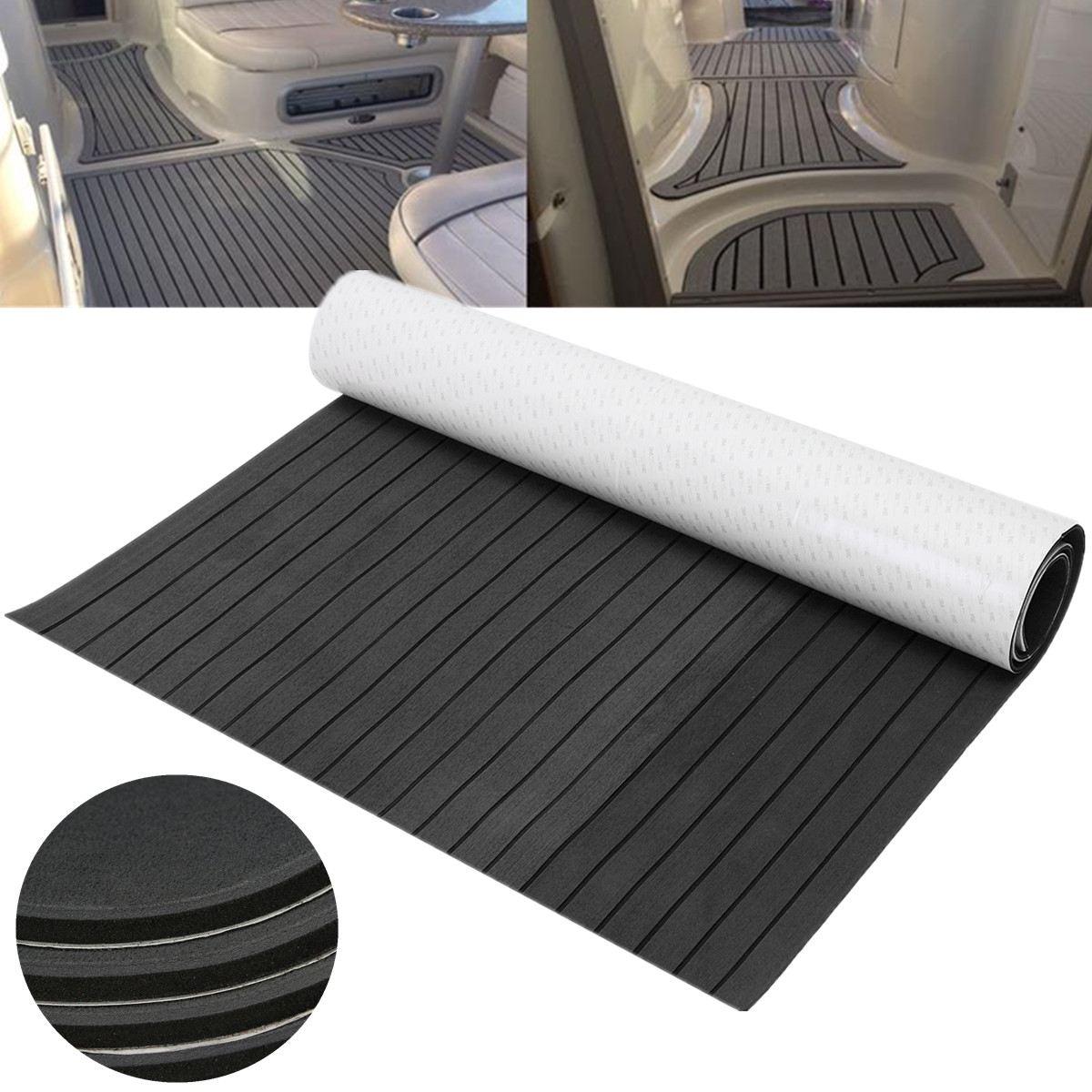 1200mmx2400mm EVA FOAM Mat Teak Sheet RV Touring Car <font><b>Flooring</b></font> Decking Sheet Marine Boat Dark Grey with Black Lines Mat