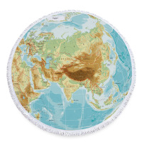 New World Map 150CM Round Beach Towel With Tassels Microfiber Large Reactive Printing Serviette De Plage Adulte Bath Towels