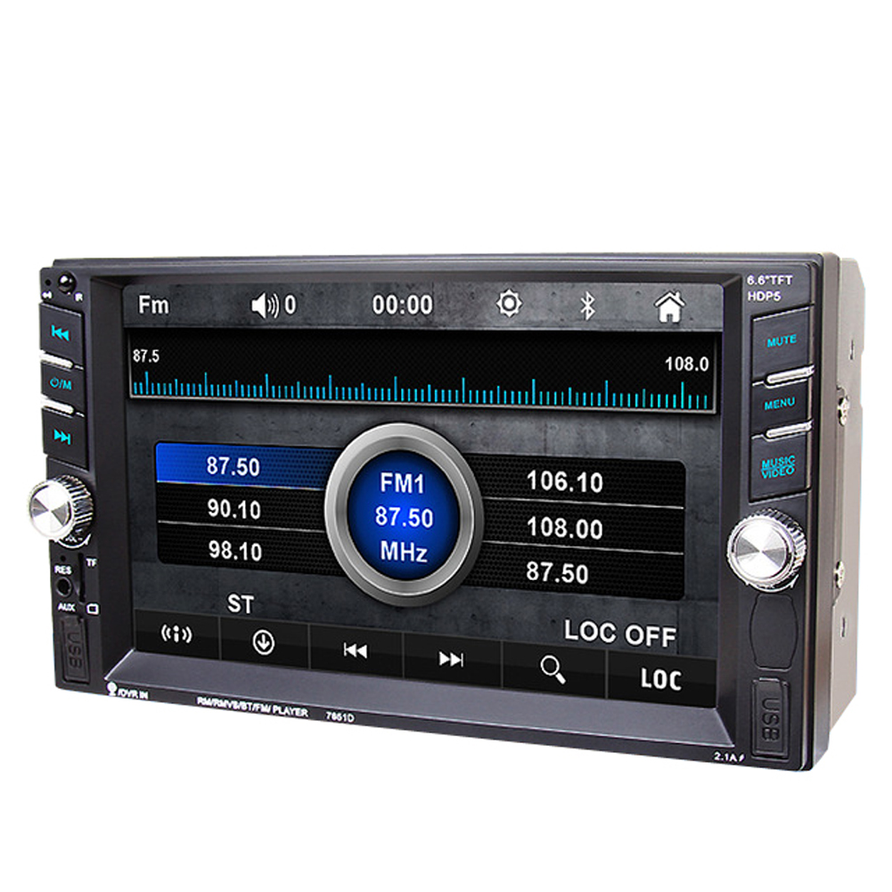 6.5 inch High Definition Car MP3 MP5 FM Player TFT Touch 2 Din in Dash Bluetooth Stereo Player 1080P AUX IN w/ Rear View camera 7 inch lcd hd double din car in dash touch screen bluetooth car stereo fm mp3 mp5 radio player rear view camera