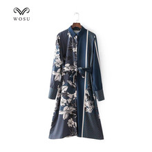WOSU Women Turn-down Collar Knee-Length Summer Long Dresses Print dress sleeved Vintage Style -BB048