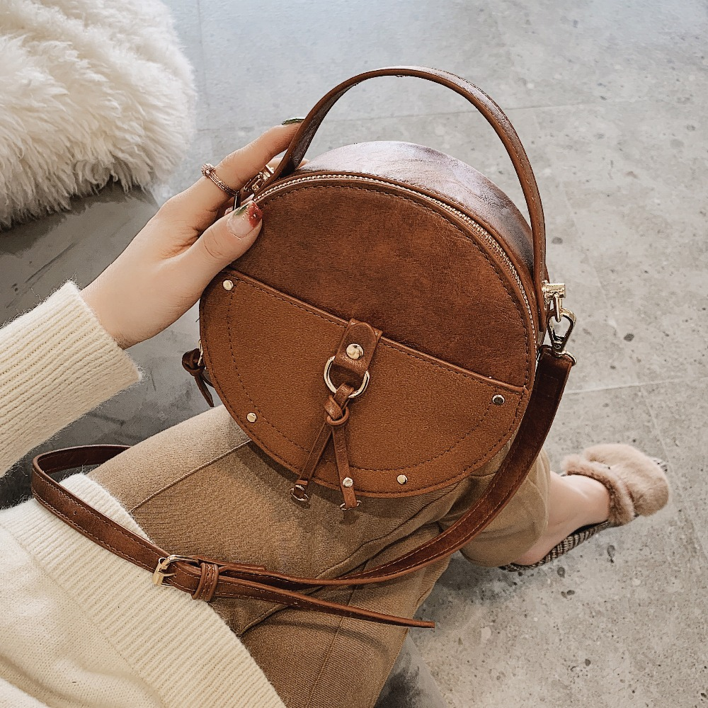 f3426d887a46 US $13.78 40% OFF|Vintage Scrub Leather Round Designer Crossbody Bag For  Women 2019 PU Leather Shoulder Bags Ladies Small Handbags Mini Tote Bag-in  ...