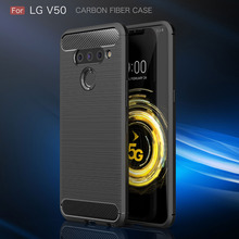 Carbon Fiber Case On for LG V50 ThinQ V40 V30 V30S Q7 G7 G6 Case Soft Silicone Soft Shockproof Protective Back Cover Phone Shell for lg v50 thinq 5g cases cover carbon fiber brushed soft silicone tpu protective phone back cover for lg v50 thinq q7 v40 g7 g6