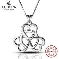 Eudora Real 925 Sterling Zilver Concentrische knoop Hanger Kettingen voor Vrouwen Fijne Sieraden collares sterling-zilver-sieraden Gift
