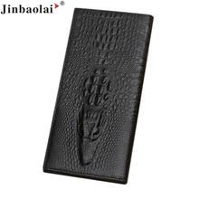 Naivety 2016 Neue JINBAOLAI Vintage Bifold Lange Brieftasche Männer Alligator PU Leder Karte Brieftasche Geldbörse Monedero 11S60930