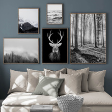 Deer Head Forest Mountain Sea Wall Art Canvas Painting Nordic Posters And Prints Landscape Pictures For Living Room Decor