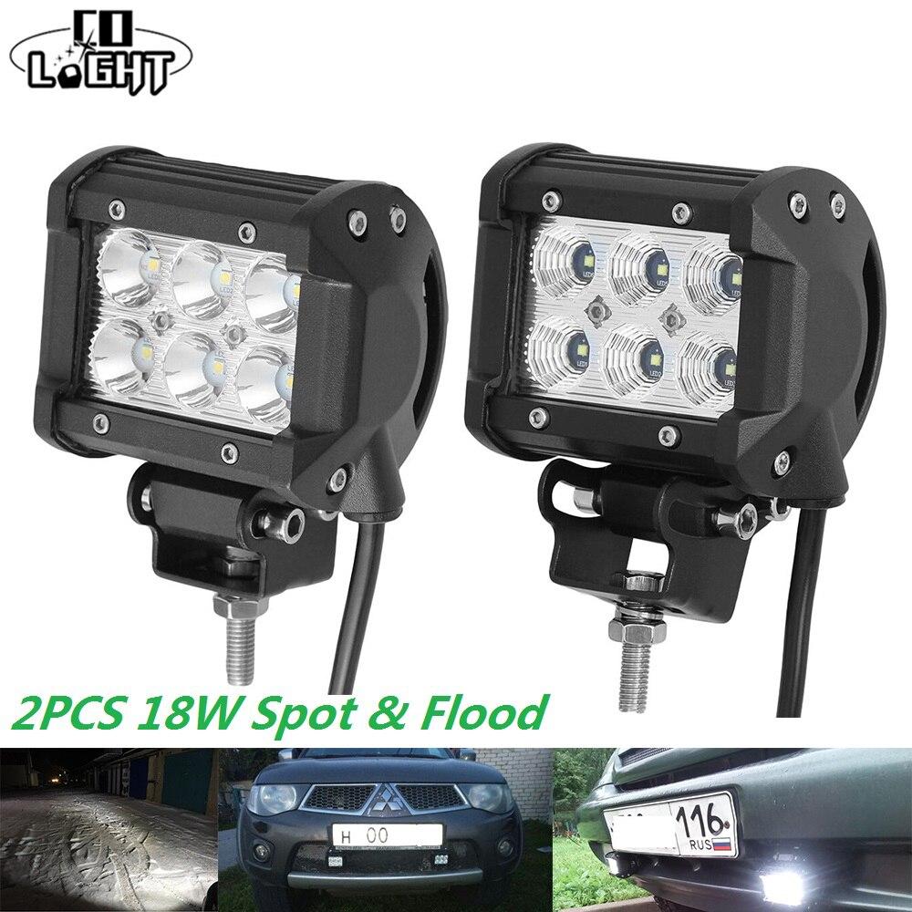 0563e59669c CO LIGHT 2 piezas LED trabajo luz Bar 18 W 6000 K Led Chips inundación Spot  Beam luz diurna para 4x4 Offroad 12 V 24 V vehículo en Barra de luz/Luz de  ...