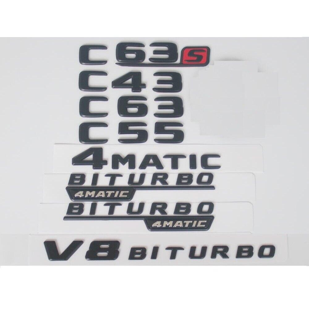 Flache Matte Schwarz Stamm Hinten Buchstaben Anzahl Abzeichen Emblem Emblem Aufkleber für Mercedes Benz C63s C63 C43 C55 AMG 4 MATIC V8 BITURBO