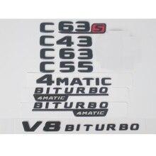 New Black Red Flat  C63s  Car Trunk Rear Letters Number Badge Emblem Emblem Sticker for Mercedes Benz AMG C Class C63 S AMG for mercedes benz glk class glk300 glk350 glk500 x204 chrome number letters rear trunk emblem badge sticker