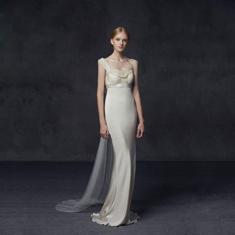Sheath Wedding Dresses 2019: Elegent Wedding Dress 2019 White Ivory One Shoulder Bridal