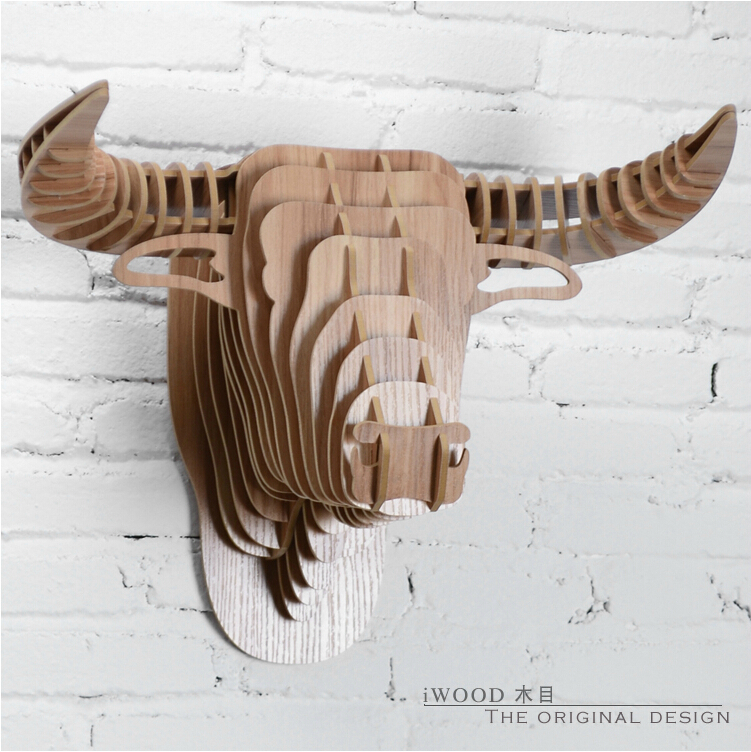 Spanish Wooden Bull Head European Style Wall Animal Art Ox African Buffalo Creative Wood Decor Free Shipping In Statues Sculptures From