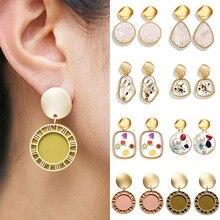 Fashion irregular geometric earrings women girls heart round crystal pearl design dangle drop earrings Vintage gold jewelry gift heart design drop earrings