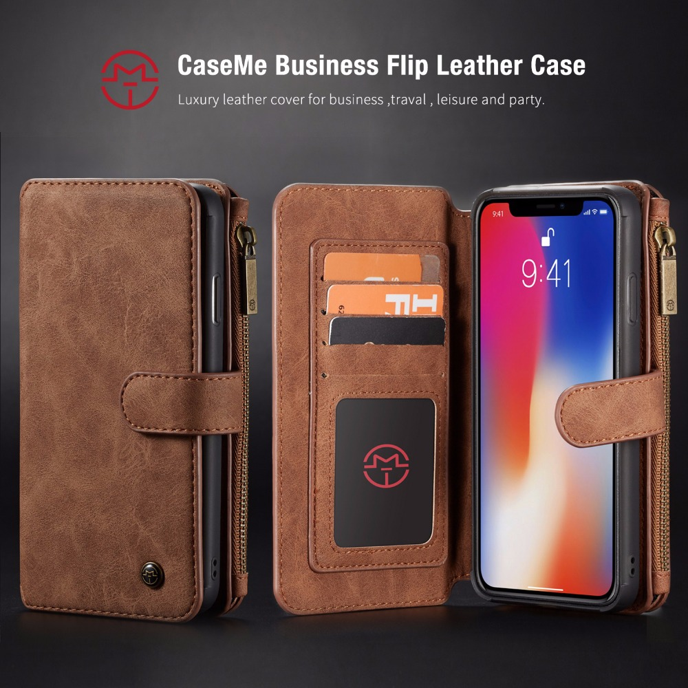Caseme For iPhone XS XR Wallet Case Magnetic detachable 2 in 1 Card Purse For iPhone Xs Max Case Wallet Leather Ladies Girl iphone xr case magnetic