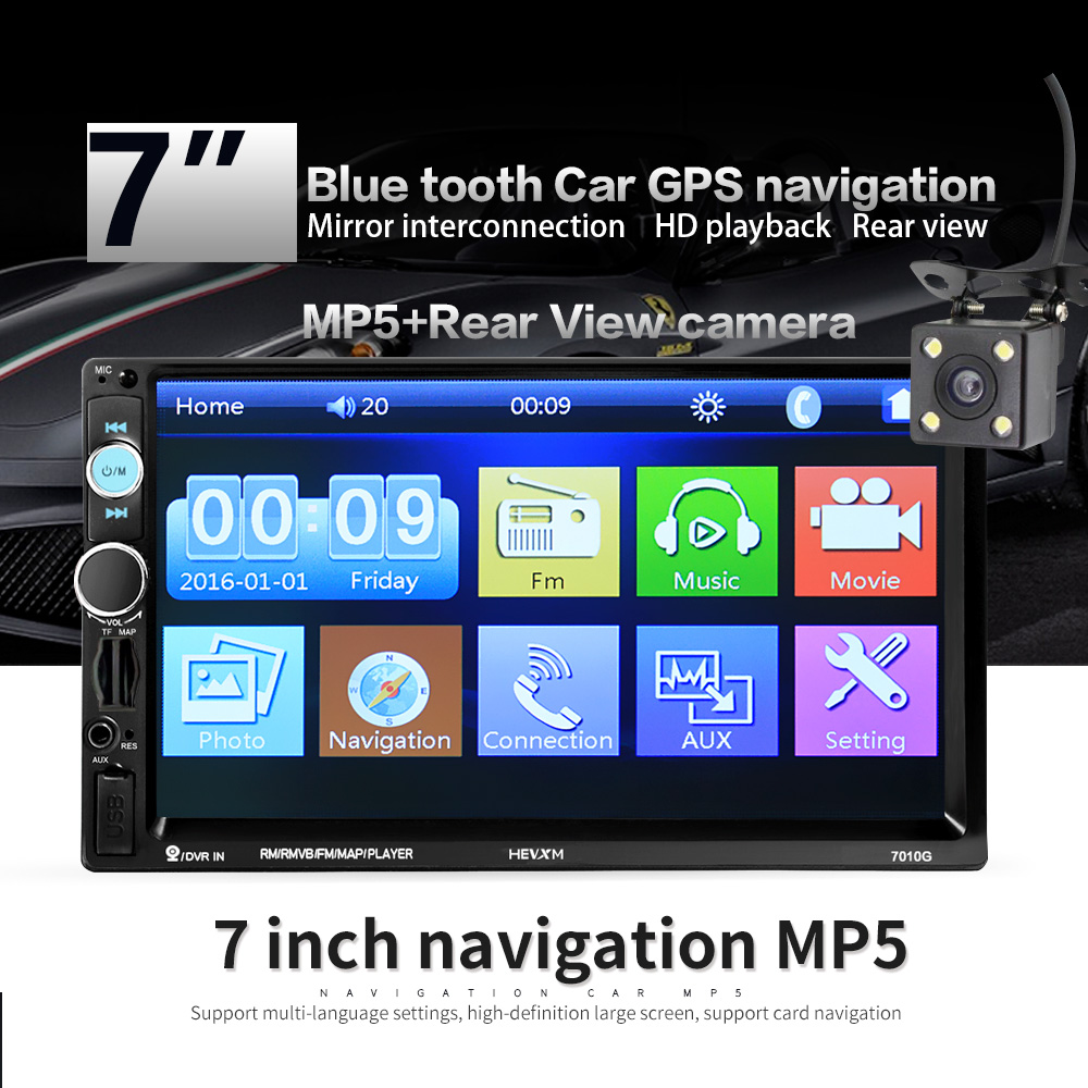 <font><b>7010G</b></font> 2 Din Car Radio GPS Navigation Autoradio Bluetooth AUX USB MP3 Stereo Audio FM 2din Multimedia Player Camera image