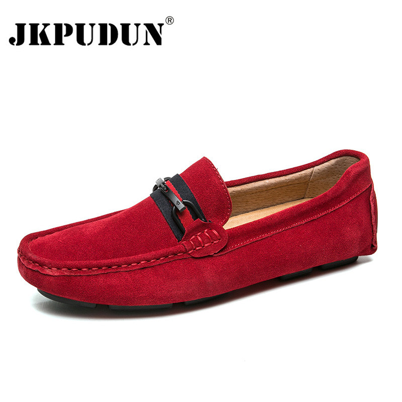 JKPUDUN Suede Leather Mens Loafers Luxury Brand Italian Men's Casual Shoes Slip On Boat Shoes For Men Moccasins Chaussure Homme