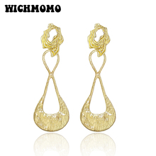 2019 New Trendy 85mm 1 Pair High Quality Zinc Alloy Gold Water Drop Dangle Earrings for Girls Party Gifts Accessories