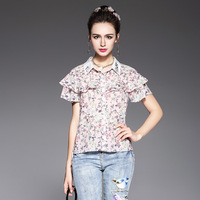 Floral Ruffled Shirt Embroidery Collar Short Sleeve Asymmetrical Pattern Printed Woven Shirts Plus Size L TO