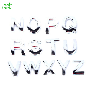 1pc Height 5cm Modern Silver Plaque Letter Digits Sticker Plate Sign N-Z Alphabet Emblem Decoration Car Stickers DIY Logo image