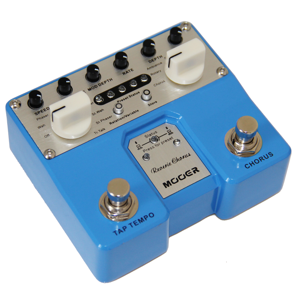 Mooer High Performance Reverie Chorus Guitar Effects Pedal with 5 Reverb Effects Two-channel Stereo Guitar Pedal mooer reverie chorus digital chorus pedal chorus rotary ambiance shimmer and multiple