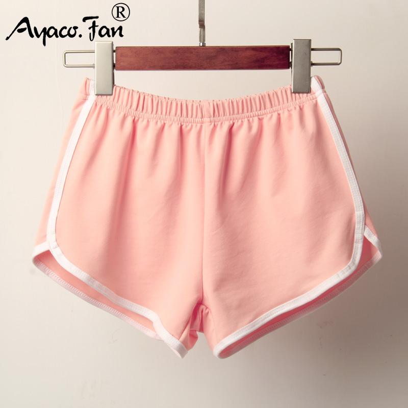 Sports Shorts Women Summer 2019 New Candy Color Anti Emptied Skinny Shorts Casual Lady Elastic Waist Beach Correndo Short Pants 2