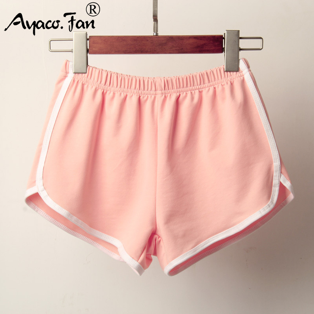 Sports Shorts Women Summer 2019 New Candy Color Anti Emptied Skinny Shorts Casual Lady Elastic Waist Beach Correndo Short Pants