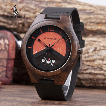 BOBO BIRD Ebony Wood Watch Mens Wooden Date Wrist Watches Timepieces in Box relogio masculino Accept Logo Drop Shipping - discount item  50% OFF Men's Watches