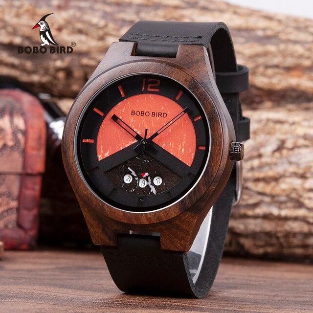 BOBO VOGEL Ebenholz Holz Uhr Herren Holz Datum Handgelenk Uhren Uhren in Holz Box relogio masculino Akzeptieren Logo Drop Verschiffen