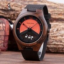 Bobo pássaro ebony relógio de madeira dos homens data relógios de pulso relógios em caixa de madeira relogio masculino aceitar o logotipo transporte da gota