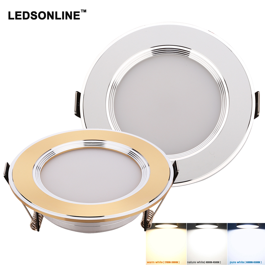 SMD5730 3W 5W 7W LED  Downlight LED Recessed Cabinet Wall Spot light Down Lamp Gold Silver Cold White Warm White
