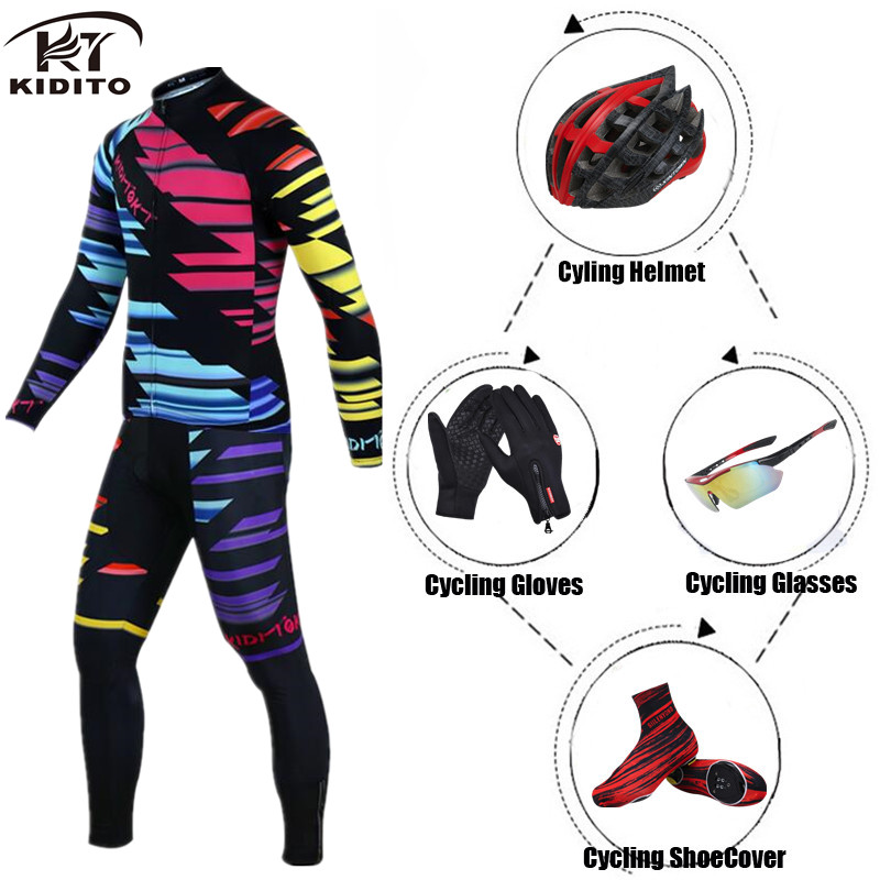 KIDITOKT Cycling Jersey Set Winter Thermal Fleece Long Sleeves 2018 Clothing Bike Clothes Wear MTB Bicycle Maillot Ropa CiclismoKIDITOKT Cycling Jersey Set Winter Thermal Fleece Long Sleeves 2018 Clothing Bike Clothes Wear MTB Bicycle Maillot Ropa Ciclismo