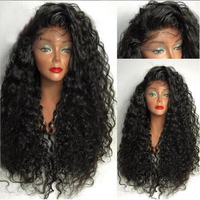 Fantasy Beauty Black Water Wave Synthetic Lace Front Wig Heat Resistant Loose Curly Half Hand Tied Front Wigs With Baby Hair