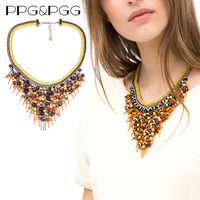 2015 New Gorgeous Za Fashion Yellow Rope Chain Tassel Necklace Mixed Crystal Acrylic Beads Statement Necklaces