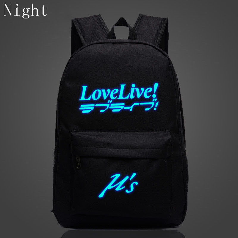 New Anime Love Live Bags Cute Luminous Canvas Backpack For Teenage Boys Girls School Backpack Womens Mens Laptop Travel Backpack