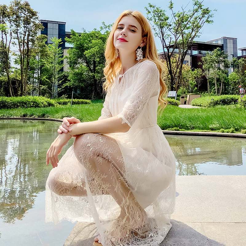 2018 summer new fashion brand womens wear chic round collar with lace sleeve elegant style S M L XL size skinny dress 69217