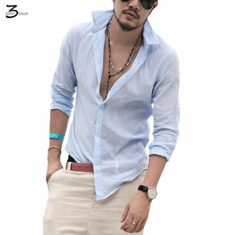 f96c2b7b531a XMY3DW stylish men fall slim fit leisure flax long sleeve shirts Men lapels  high-