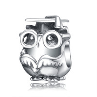 Aceworks Owl With Bachelor Cap Charm 925 Sterling Silver Bead Women Silver Charms Fit Euopean DIY