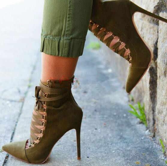 Schwarz/grau/armee grün einfarbig schnüren spitz sexy stiefeletten für frauen frühling sommer herbst thin high heel pumps