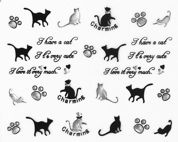 Ногтей 3D Книги по искусству Наклейки наклейка черный, серебристый цвет очаровательные Товары для кошек буквы ясно Стразы Дизайн Французски...