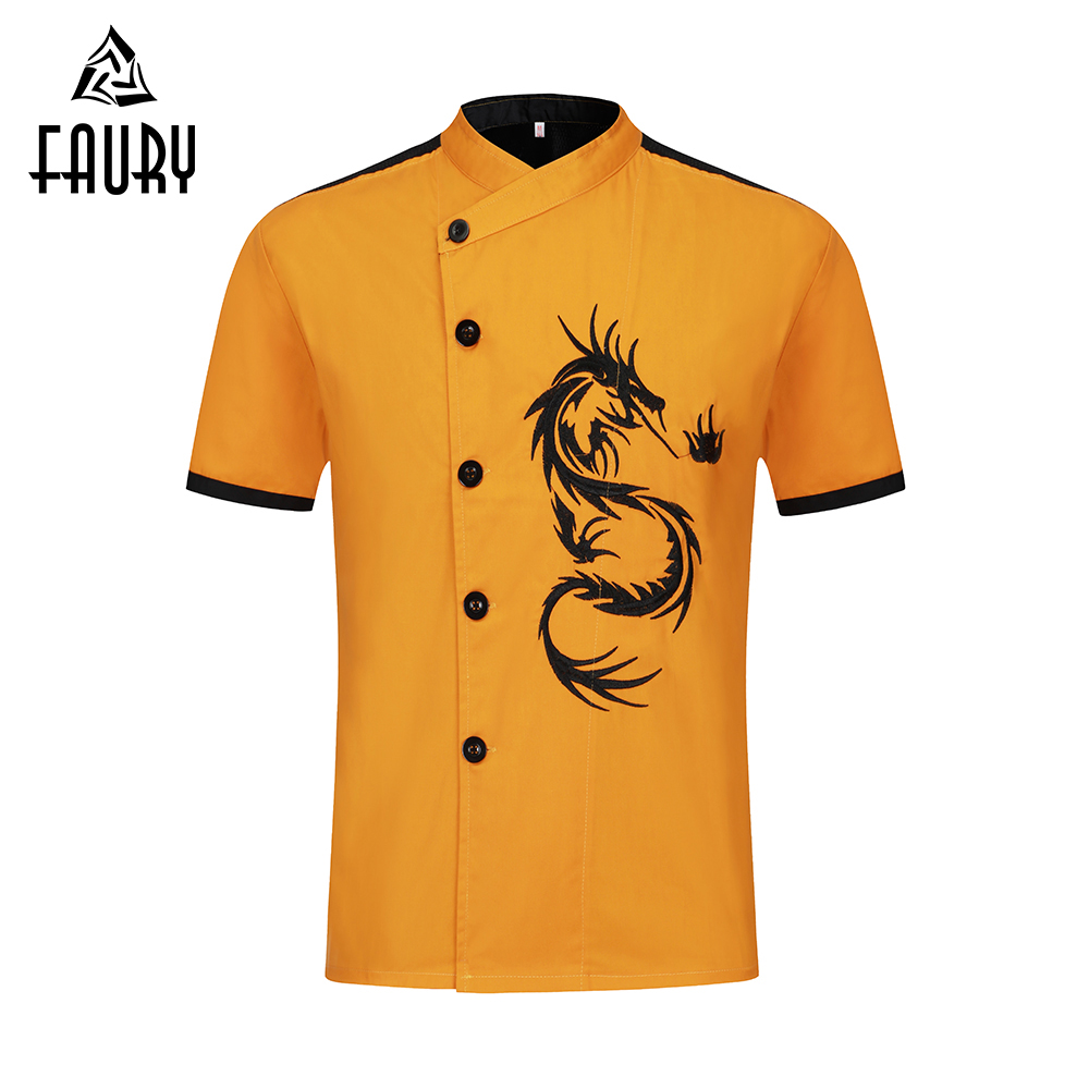 Summer Short Sleeve Chef Jackets Dragon Embroidery Kitchen Catering Restaurant Uniform Hotel BBQ Cafe Cook Unisex Chef Clothes