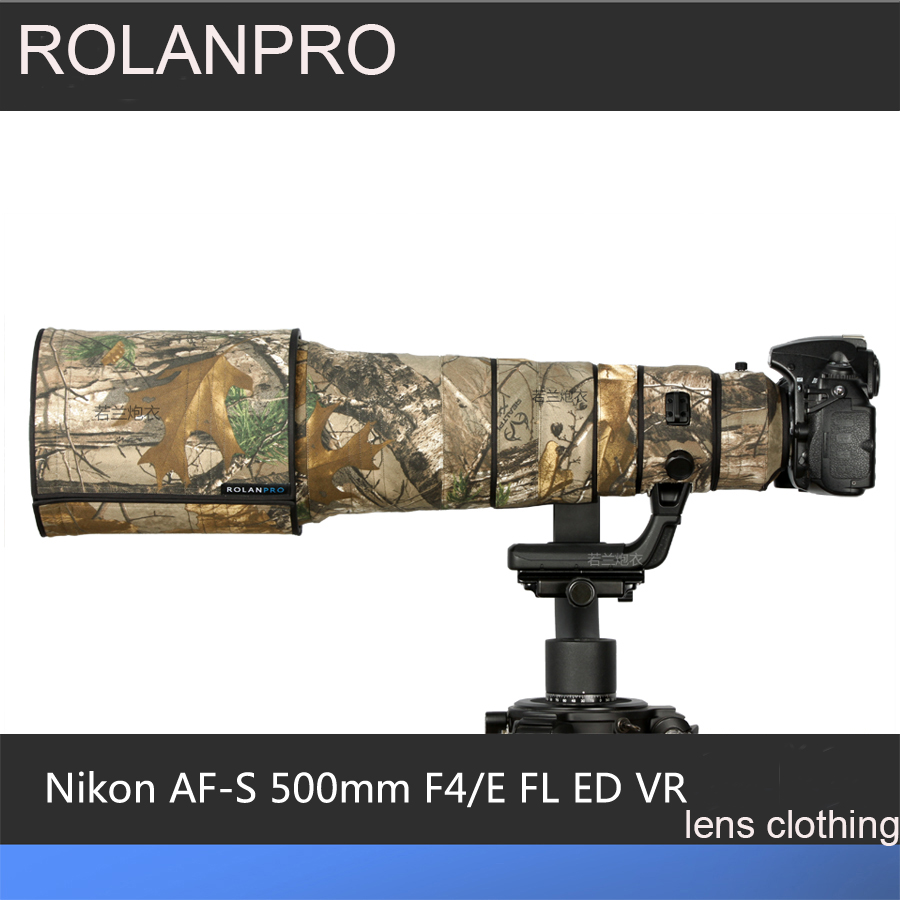 ROLANPRO Lens Camouflage Rain Cover for Nikon AF-S 500mm F/4E FL ED VR Lens Protective Case Guns Clothing SLR Cotton Clothing new nikon d5500 digital slr camera body with nikon af s dx 18 55mm f 3 5 5 6g vr ii lens