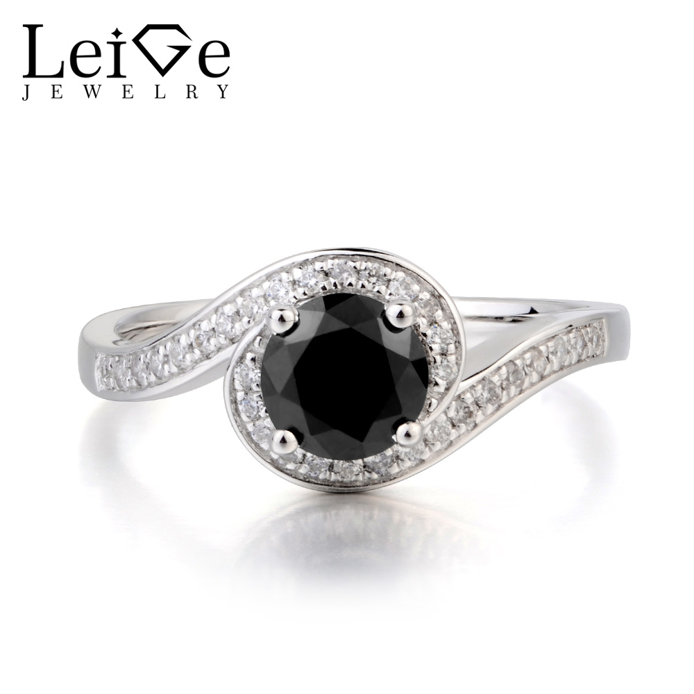 Leige Jewelry Natural Black Spinel Ring Cocktail Party Ring Round Cut Black Gemstone 925 Sterling Silver Ring Gifts for Women цена