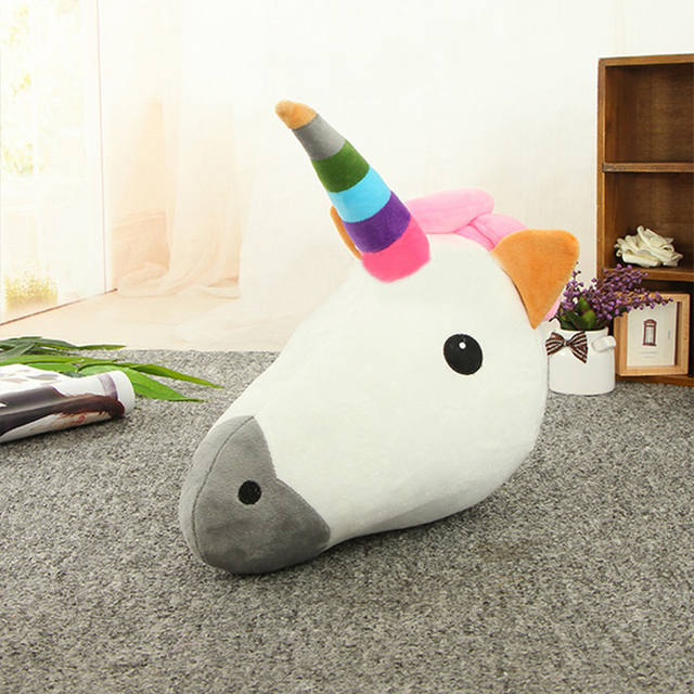 1pcs unicorn horse head pillow cushion animal rainbow horse emoji cushion soft kids toy for sofa - Horses Head Pillow