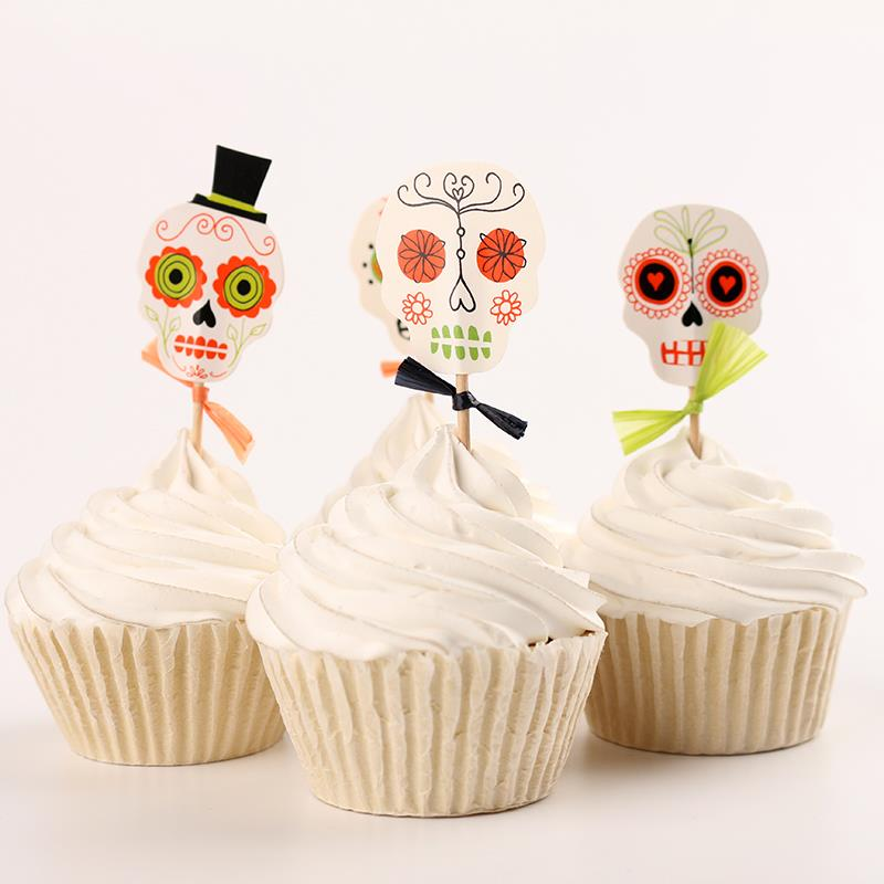 24pcs Lot Halloween Skull Cupcake Wrappers Liners Party Decorations