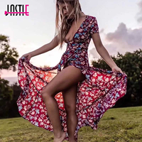 Jastie Boho Chic Beach Dress V Neck Wrap Women Dress Print Ruffled Asymmetric Hem Maxi Dresses