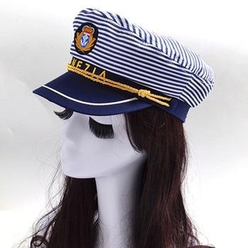 Estilo moda mujeres militares sombreros adultos niños Navy Stripe trabajo  gorra de marinero 029c3fcfb3d