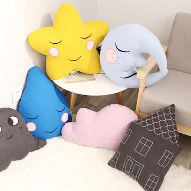 Baby Plush Toy bedding pillow newborn Photo Prop for photo shooting bebe decoration baby room decor Moon star cloud shape R4 3pcs star moon cloud wall hanging doll baby comforting plush stuffed room decoration christmas toys birthday gift dash pillow