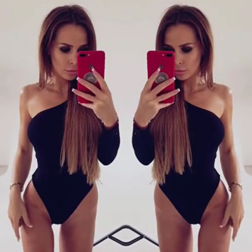 New Fashion Sexy Long Sleeve bodysuit Women jumpsuit romper 2017 one piece Party bodycon One shoulder overalls Skinny bodysuits