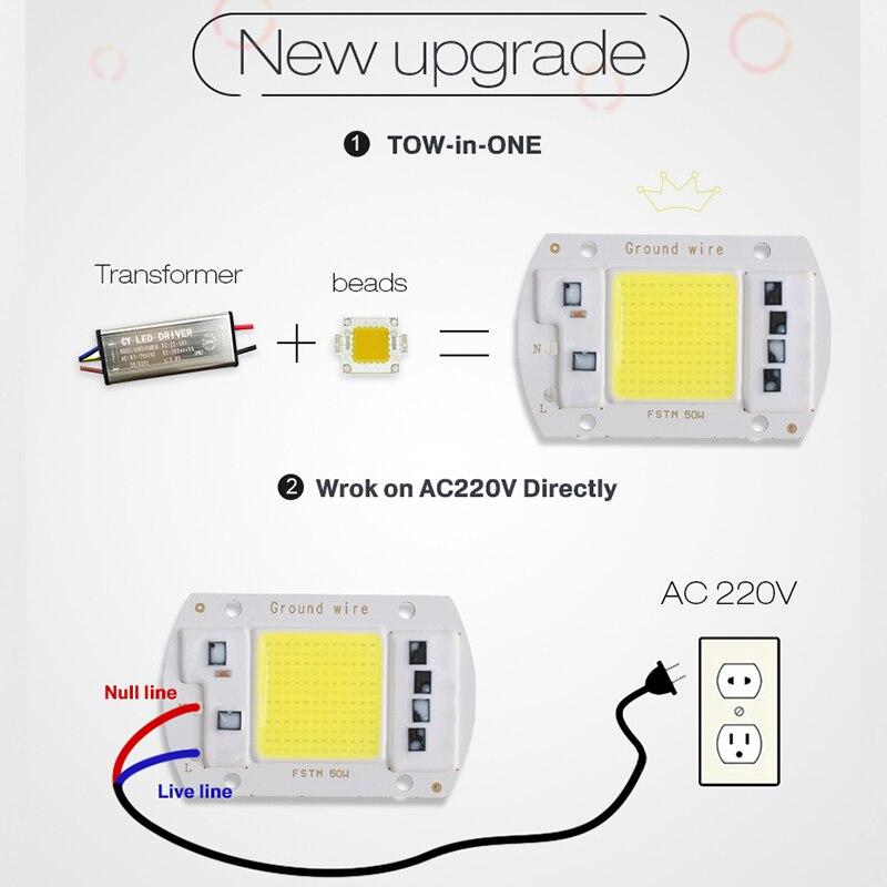 COB LED Puce 50W 220V 30W 20W 10W 3W Intelligent IC Pas Besoin Pilote - Accessoires d'éclairage - Photo 2