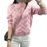 Sueter Mujer 2016 Autumn Winter Cashmere Fashion Thick Warm Cube Female Loose Sweaters Round Neck Girl