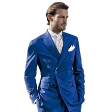 The latest Blue Mens Suits fashion Peaked Lapel  handsome Wedding Suits Double breasted prom Suits custom(Jacket+Pants)